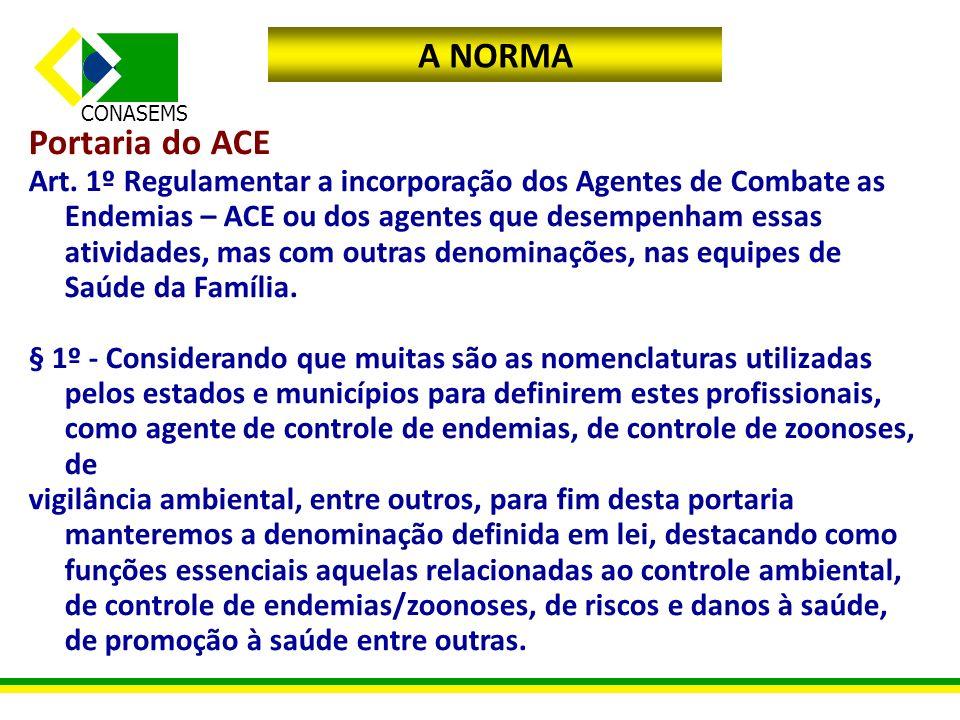 A NORMA Portaria do ACE.