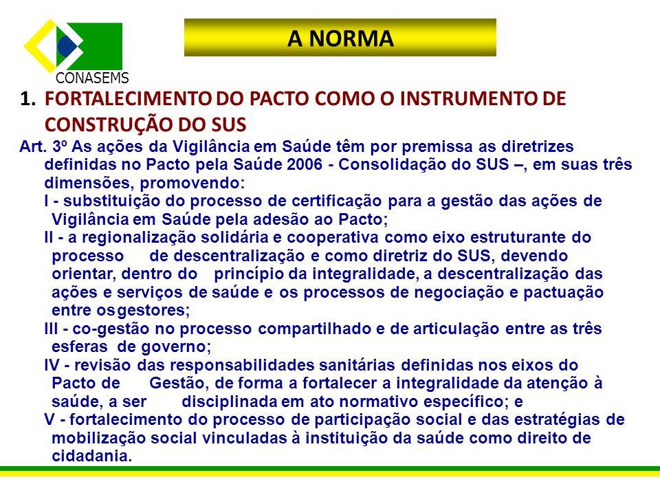 A NORMA FORTALECIMENTO DO PACTO COMO O INSTRUMENTO DE CONSTRUÇÃO DO SUS.