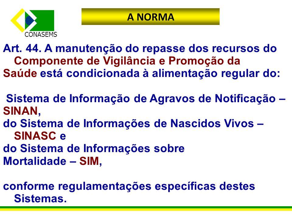 A NORMA Art. 44. A manutenção do repasse dos recursos do Componente de Vigilância e Promoção da. Saúde está condicionada à alimentação regular do: