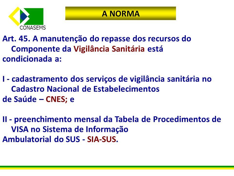 A NORMA Art. 45. A manutenção do repasse dos recursos do Componente da Vigilância Sanitária está. condicionada a: