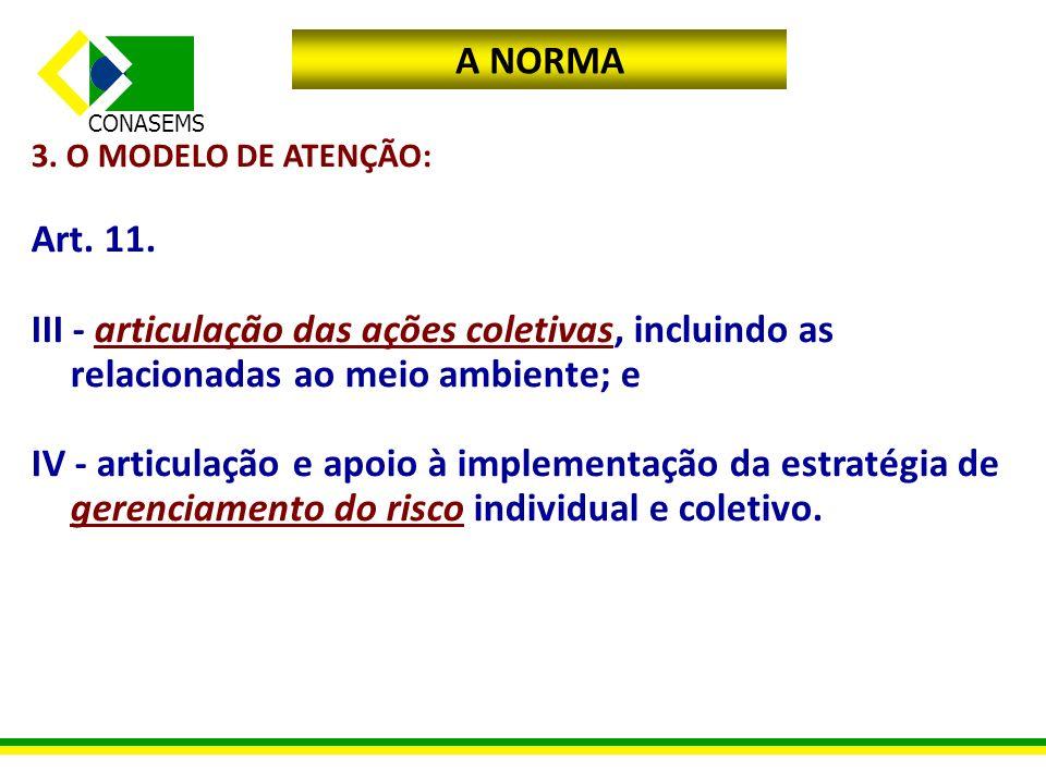 A NORMA 3. O MODELO DE ATENÇÃO: Art. 11. III - articulação das ações coletivas, incluindo as relacionadas ao meio ambiente; e.