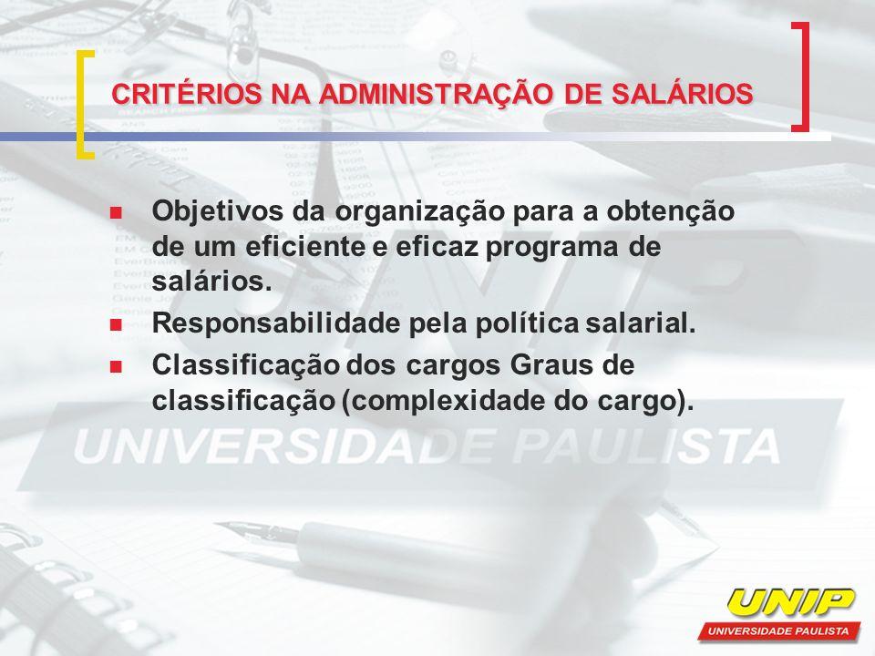 CRITÉRIOS NA ADMINISTRAÇÃO DE SALÁRIOS