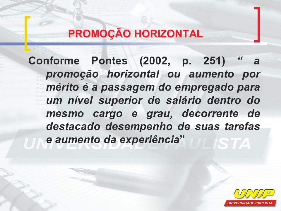PROMOÇÃO HORIZONTAL