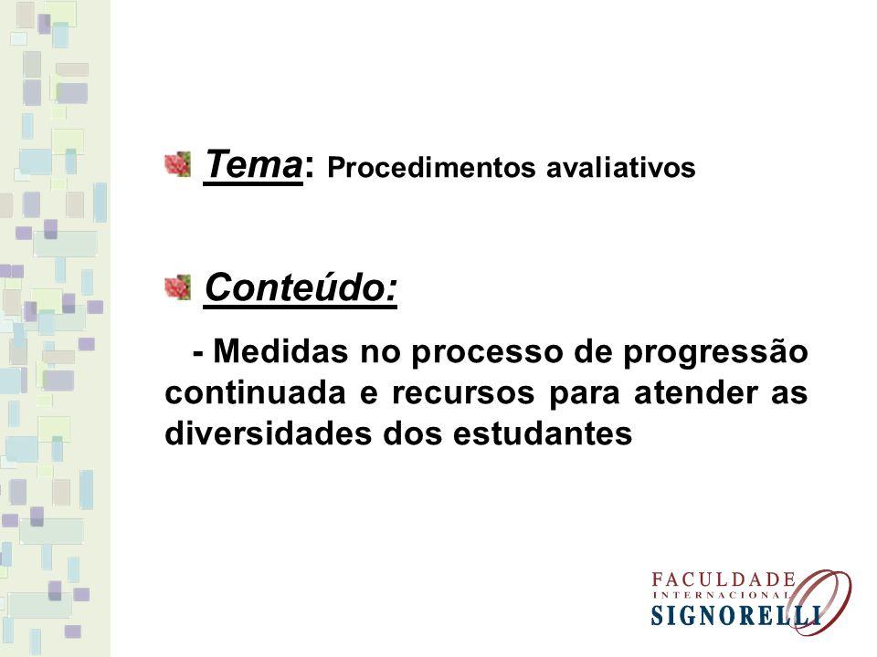 Tema: Procedimentos avaliativos Conteúdo: