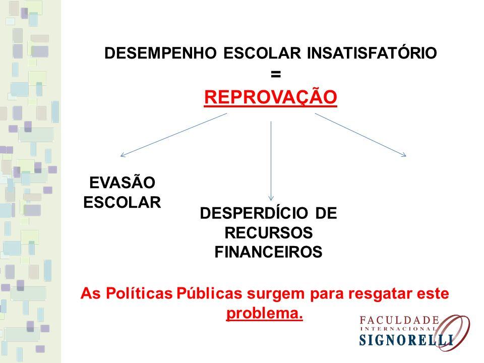 = REPROVAÇÃO DESEMPENHO ESCOLAR INSATISFATÓRIO EVASÃO ESCOLAR