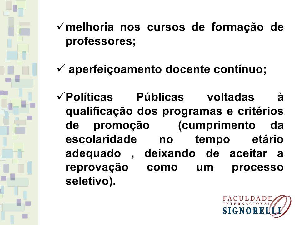 melhoria nos cursos de formação de professores;