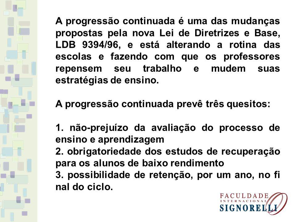 A progressão continuada é uma das mudanças propostas pela nova Lei de Diretrizes e Base, LDB 9394/96, e está alterando a rotina das escolas e fazendo com que os professores repensem seu trabalho e mudem suas estratégias de ensino.