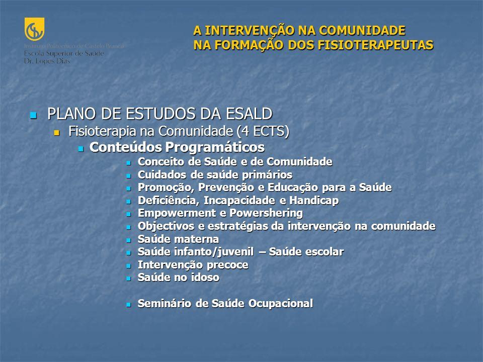 PLANO DE ESTUDOS DA ESALD
