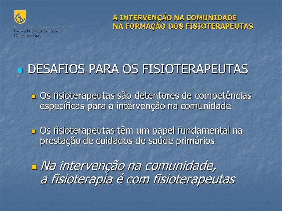 DESAFIOS PARA OS FISIOTERAPEUTAS
