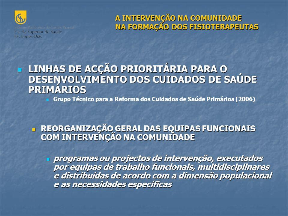 A INTERVENÇÃO NA COMUNIDADE NA FORMAÇÃO DOS FISIOTERAPEUTAS