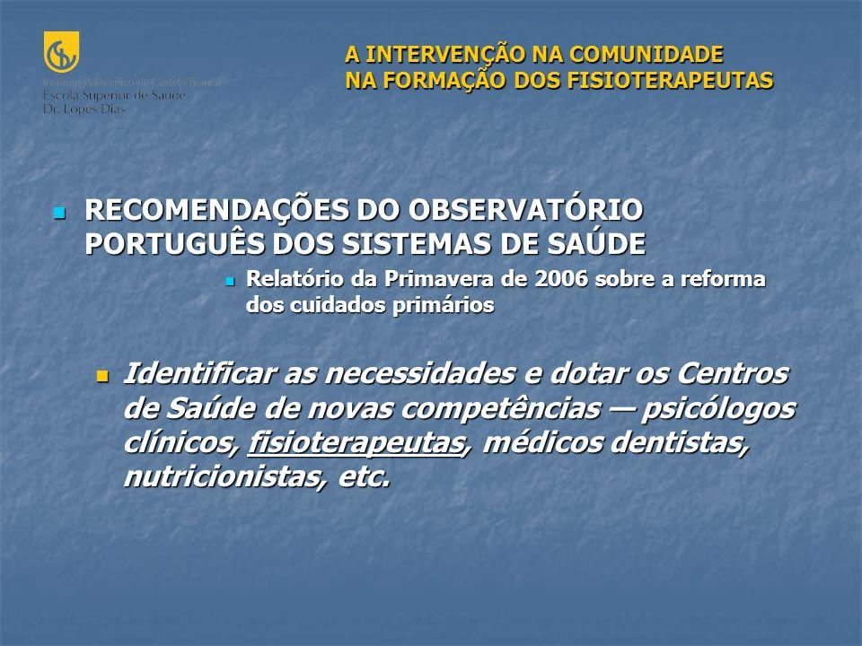 RECOMENDAÇÕES DO OBSERVATÓRIO PORTUGUÊS DOS SISTEMAS DE SAÚDE