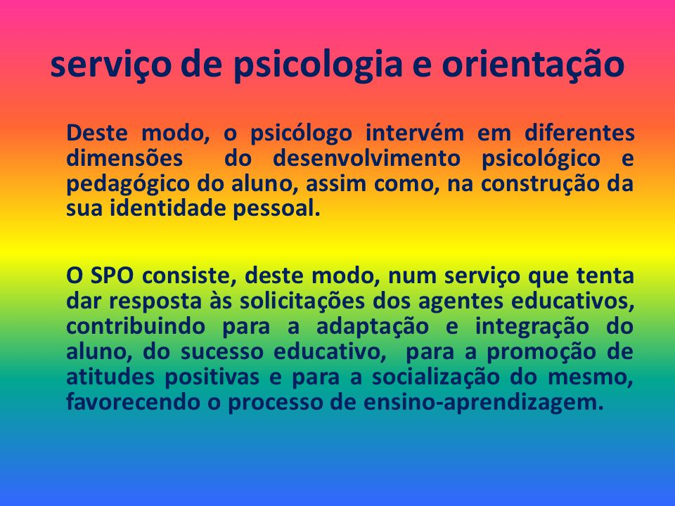 serviço de psicologia e orientação