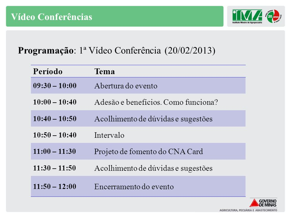 Programação: 1ª Vídeo Conferência (20/02/2013)