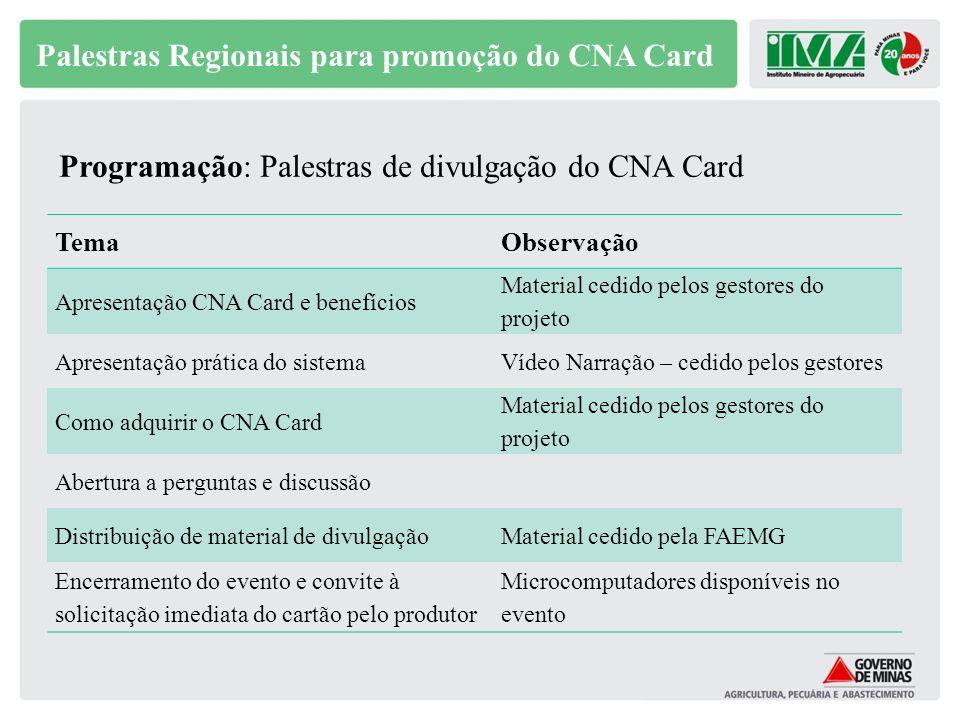 Palestras Regionais para promoção do CNA Card