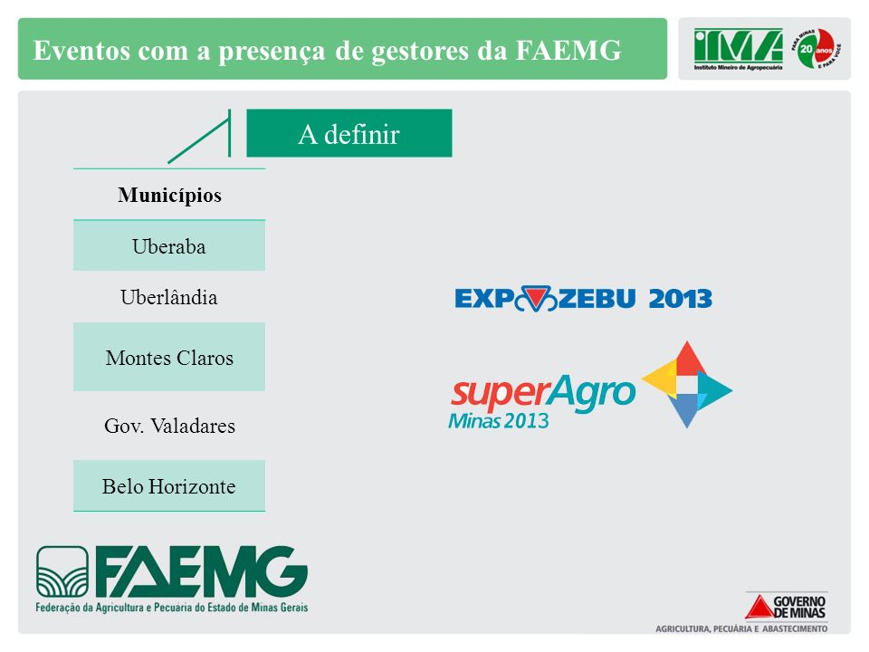 Eventos com a presença de gestores da FAEMG