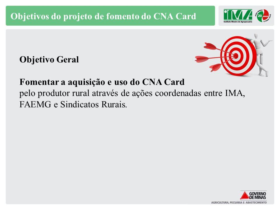 Objetivos do projeto de fomento do CNA Card