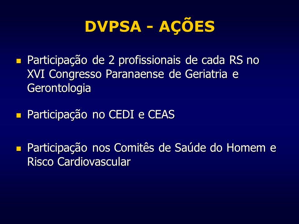 DVPSA - AÇÕES Participação de 2 profissionais de cada RS no XVI Congresso Paranaense de Geriatria e Gerontologia.