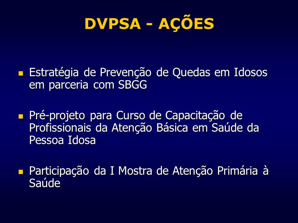 DVPSA - AÇÕES Estratégia de Prevenção de Quedas em Idosos em parceria com SBGG.