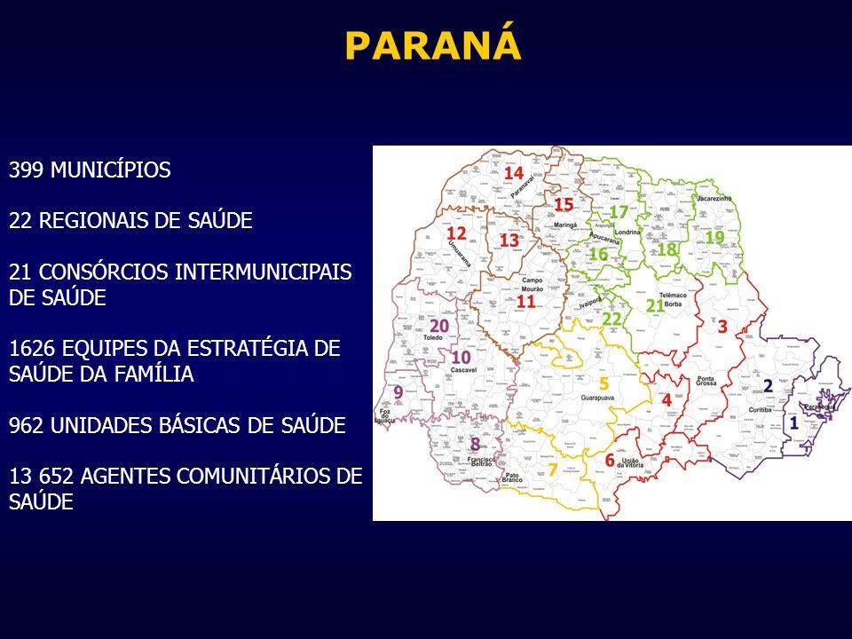 PARANÁ 399 MUNICÍPIOS 22 REGIONAIS DE SAÚDE