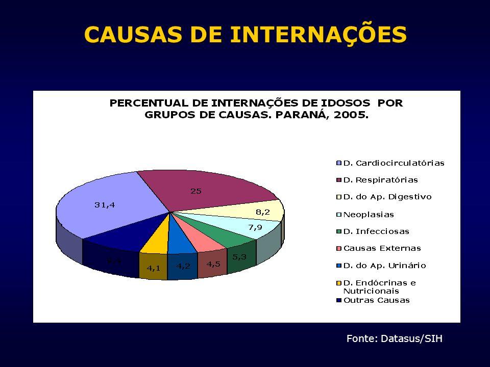 CAUSAS DE INTERNAÇÕES Fonte: Datasus/SIH