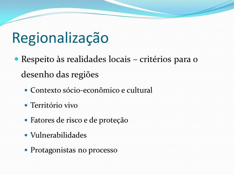 Regionalização Respeito às realidades locais – critérios para o desenho das regiões. Contexto sócio-econômico e cultural.