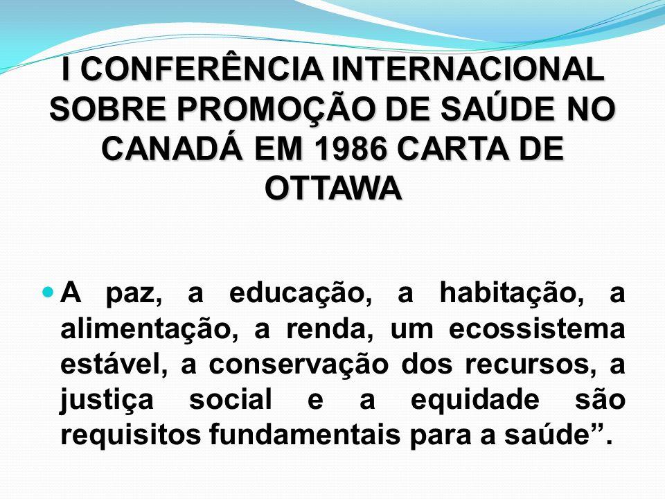 I CONFERÊNCIA INTERNACIONAL SOBRE PROMOÇÃO DE SAÚDE NO CANADÁ EM 1986 CARTA DE OTTAWA