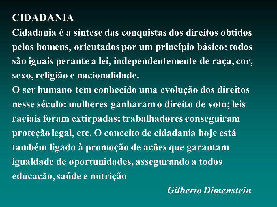 CIDADANIA Cidadania é a síntese das conquistas dos direitos obtidos