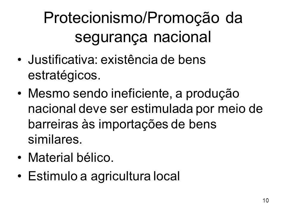 Protecionismo/Promoção da segurança nacional