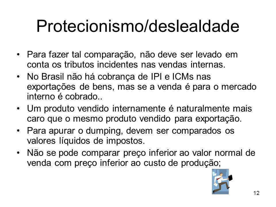 Protecionismo/deslealdade