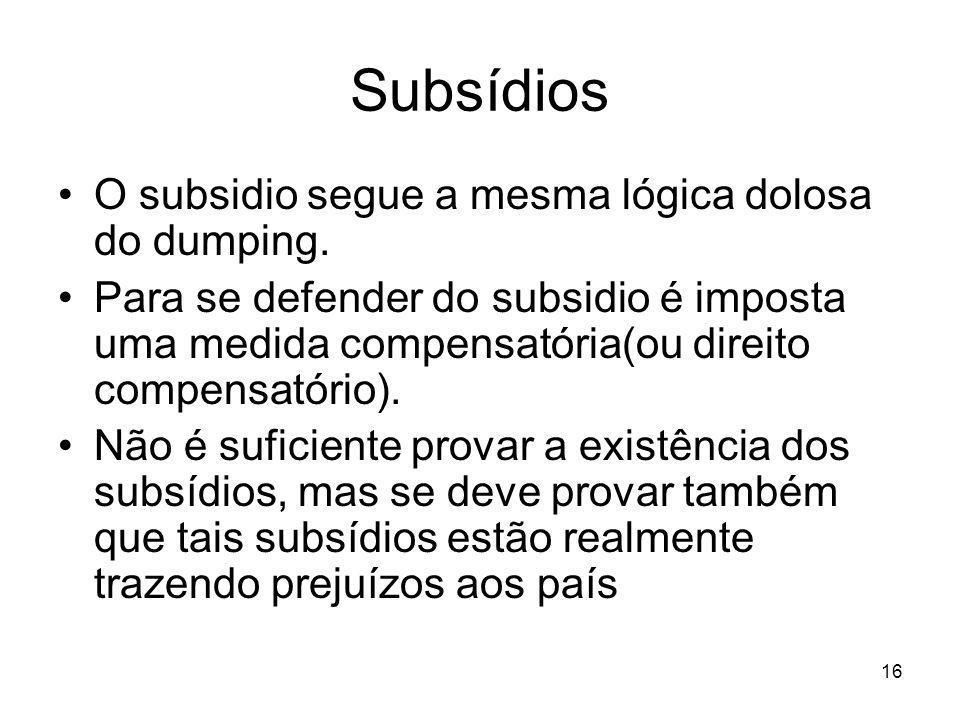 Subsídios O subsidio segue a mesma lógica dolosa do dumping.