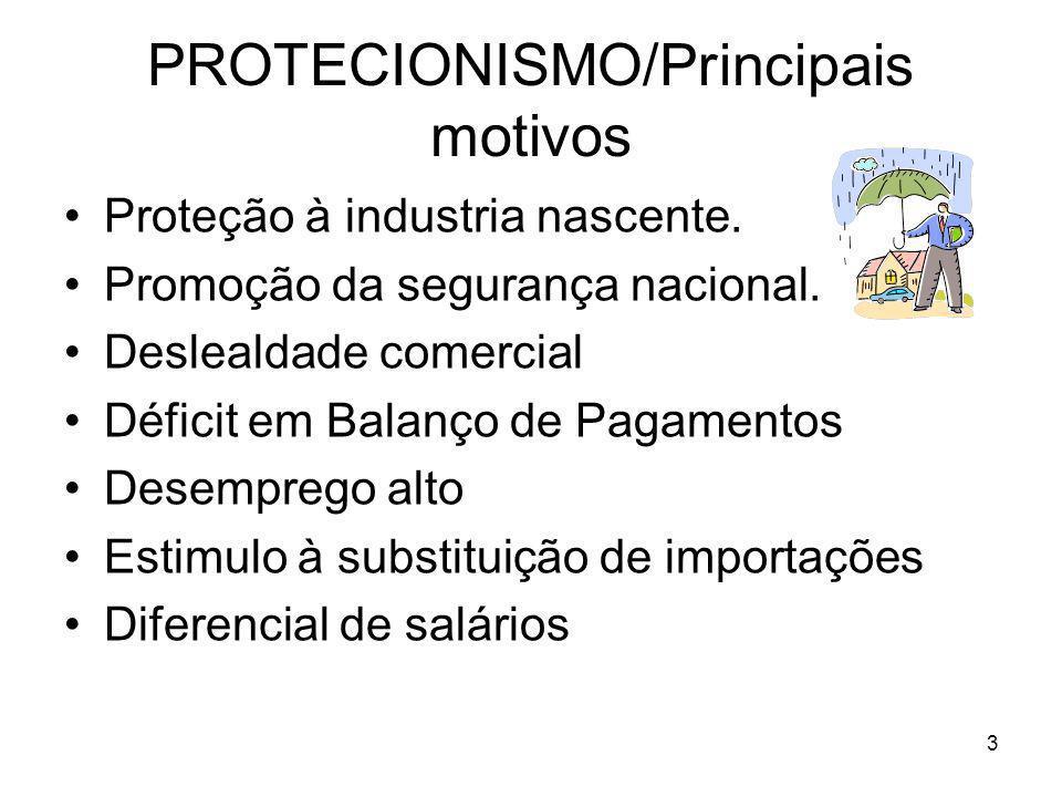 PROTECIONISMO/Principais motivos