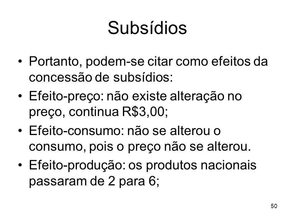 Subsídios Portanto, podem-se citar como efeitos da concessão de subsídios: Efeito-preço: não existe alteração no preço, continua R$3,00;