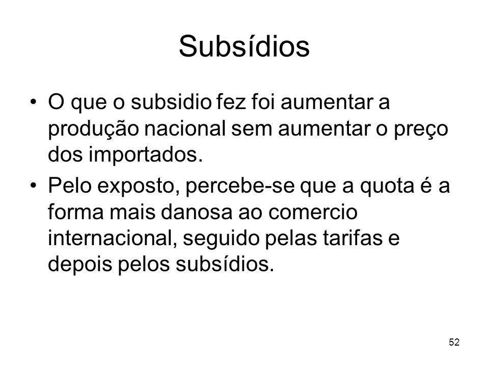 Subsídios O que o subsidio fez foi aumentar a produção nacional sem aumentar o preço dos importados.
