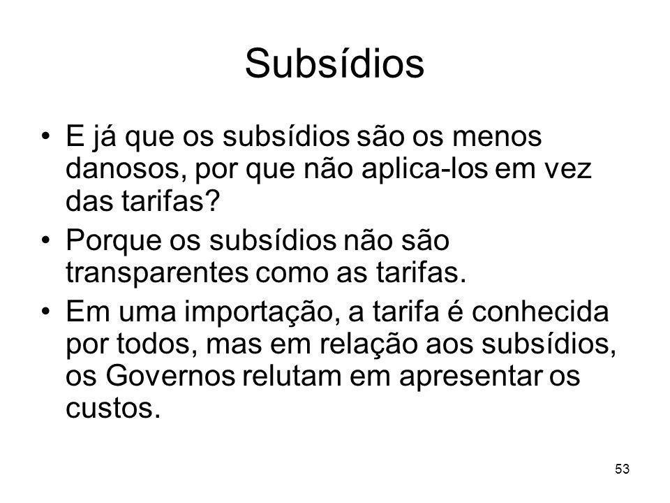 Subsídios E já que os subsídios são os menos danosos, por que não aplica-los em vez das tarifas