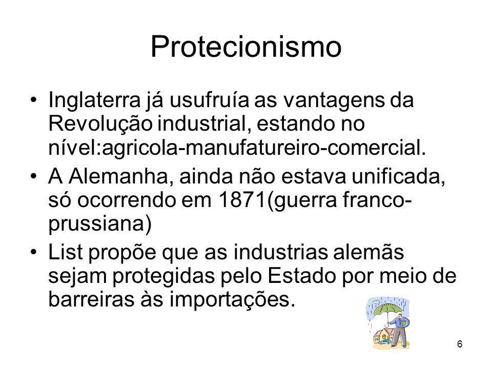 Protecionismo Inglaterra já usufruía as vantagens da Revolução industrial, estando no nível:agricola-manufatureiro-comercial.