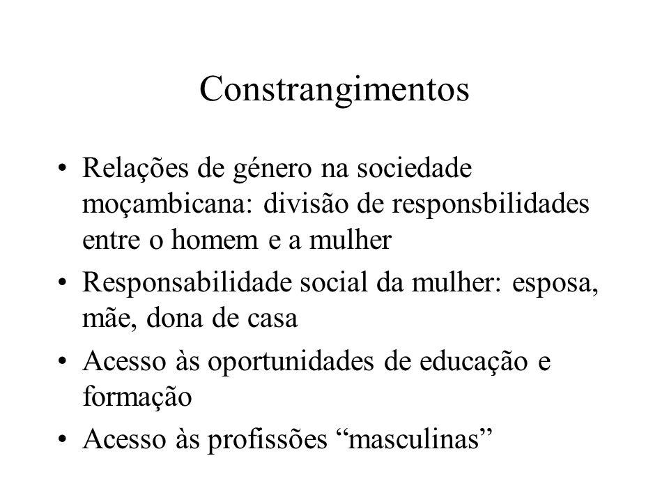 Constrangimentos Relações de género na sociedade moçambicana: divisão de responsbilidades entre o homem e a mulher.