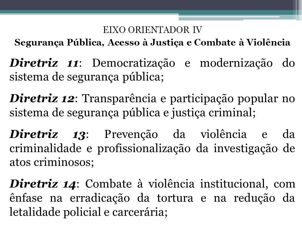 Segurança Pública, Acesso à Justiça e Combate à Violência