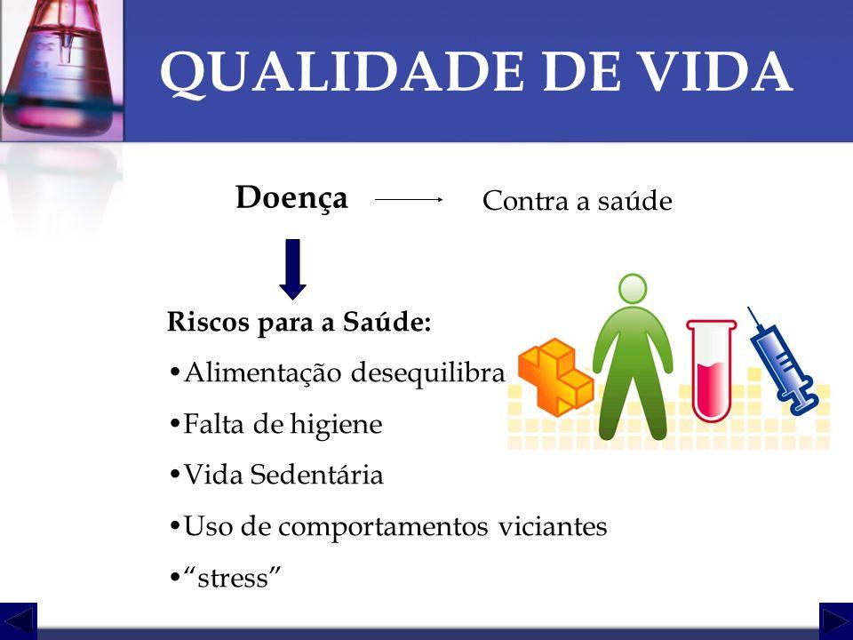 QUALIDADE DE VIDA Doença Contra a saúde Riscos para a Saúde: