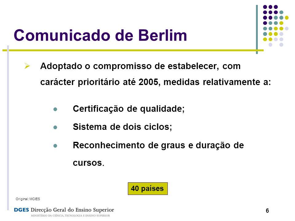 Comunicado de Berlim Adoptado o compromisso de estabelecer, com carácter prioritário até 2005, medidas relativamente a: