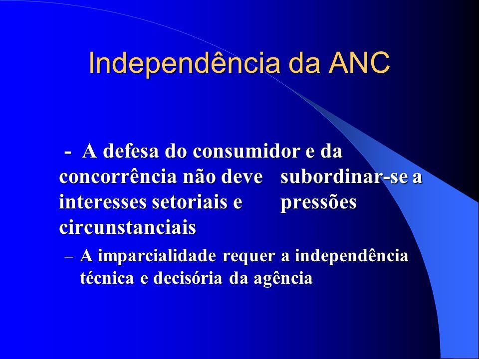 Independência da ANC - A defesa do consumidor e da concorrência não deve subordinar-se a interesses setoriais e pressões circunstanciais.