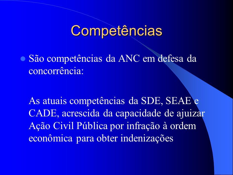 Competências São competências da ANC em defesa da concorrência: