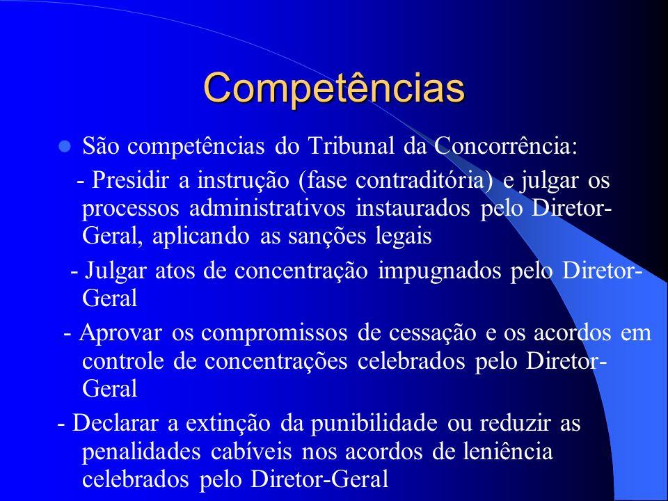 Competências São competências do Tribunal da Concorrência: