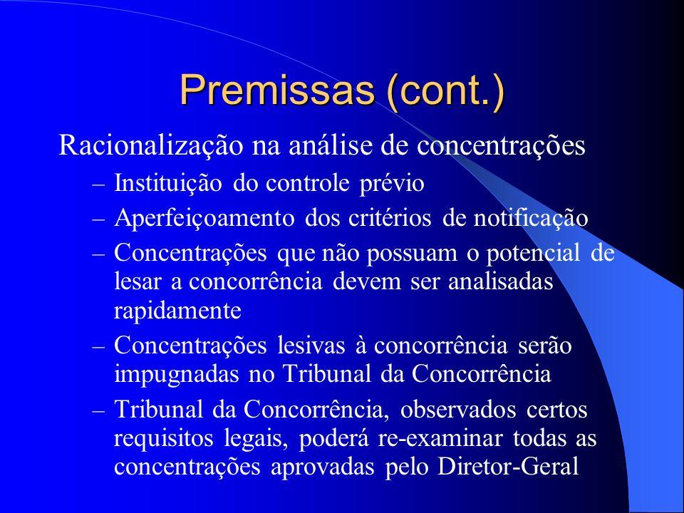 Premissas (cont.) Racionalização na análise de concentrações