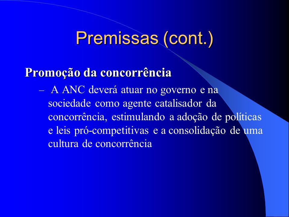 Premissas (cont.) Promoção da concorrência