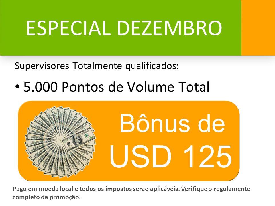 USD 125 Bônus de ESPECIAL DEZEMBRO 5.000 Pontos de Volume Total