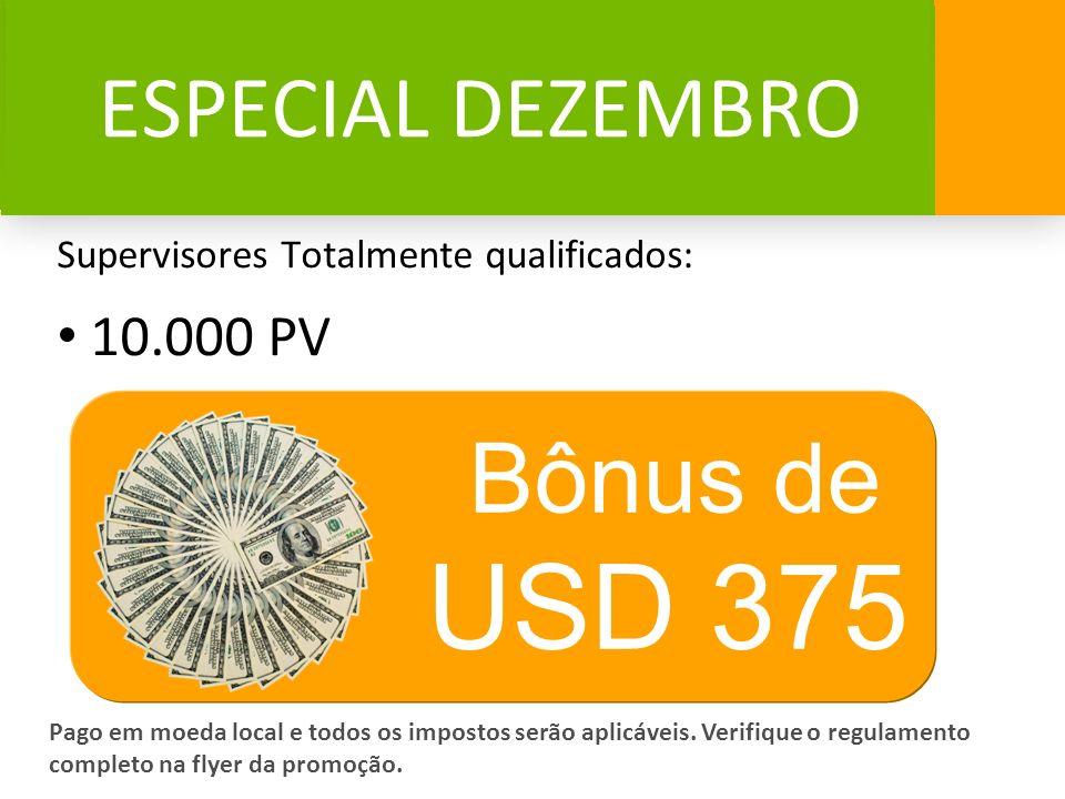 USD 375 Bônus de ESPECIAL DEZEMBRO 10.000 PV