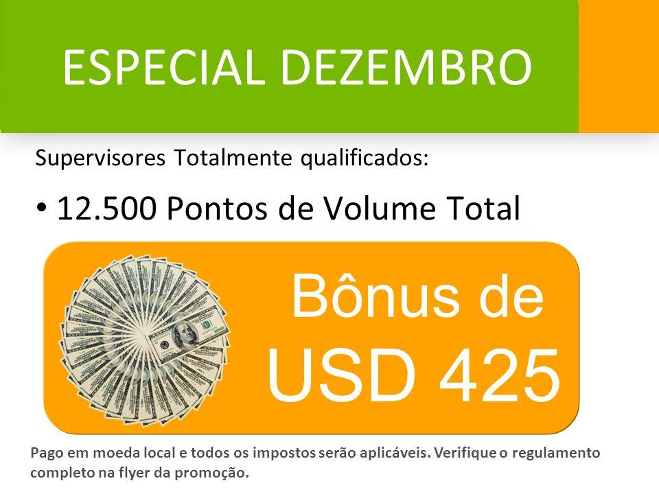 USD 425 Bônus de ESPECIAL DEZEMBRO 12.500 Pontos de Volume Total