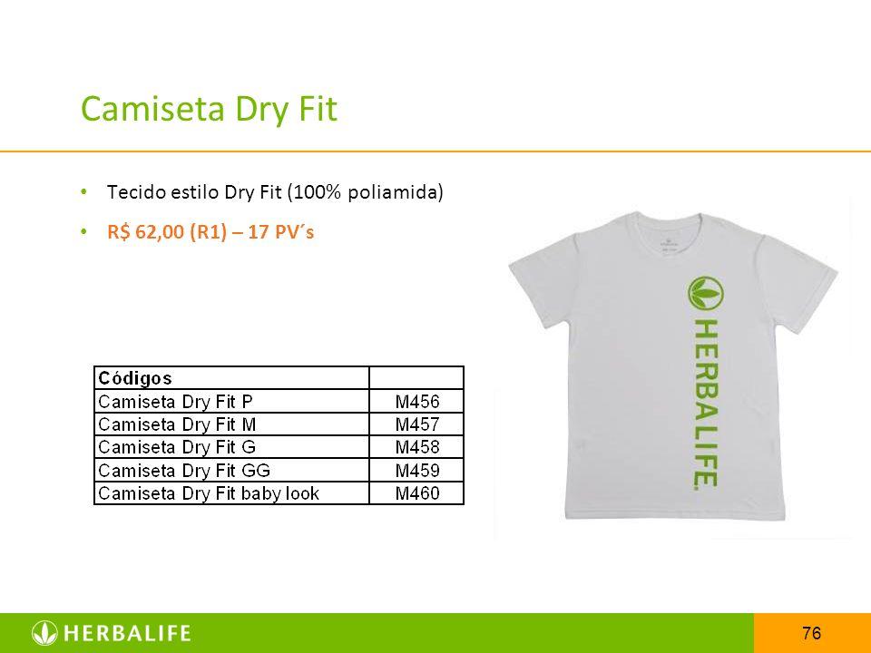 Camiseta Dry Fit Tecido estilo Dry Fit (100% poliamida)