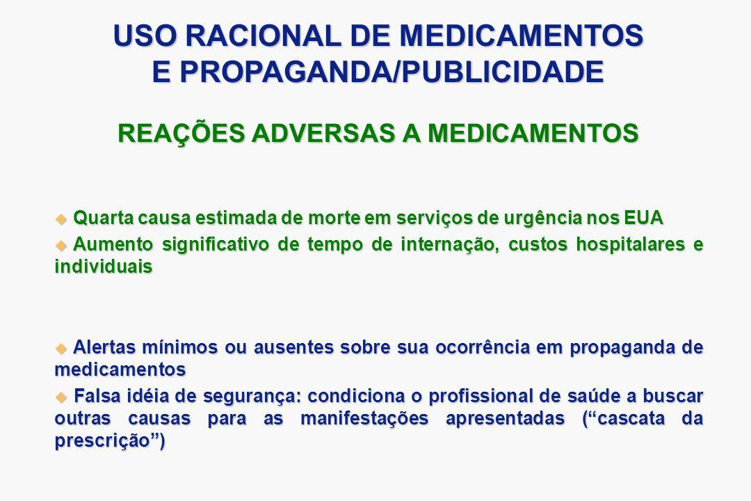 USO RACIONAL DE MEDICAMENTOS E PROPAGANDA/PUBLICIDADE
