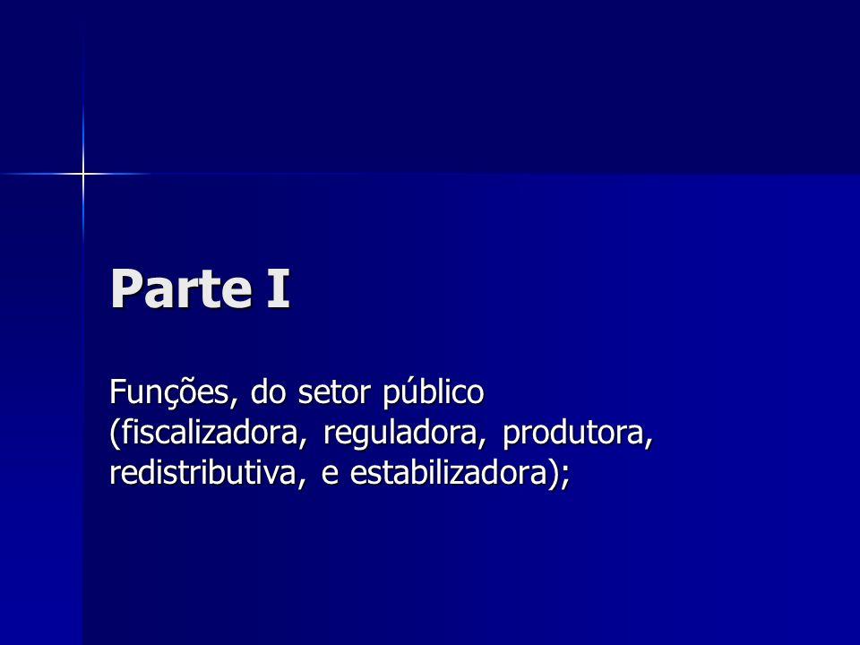 Parte I Funções, do setor público (fiscalizadora, reguladora, produtora, redistributiva, e estabilizadora);